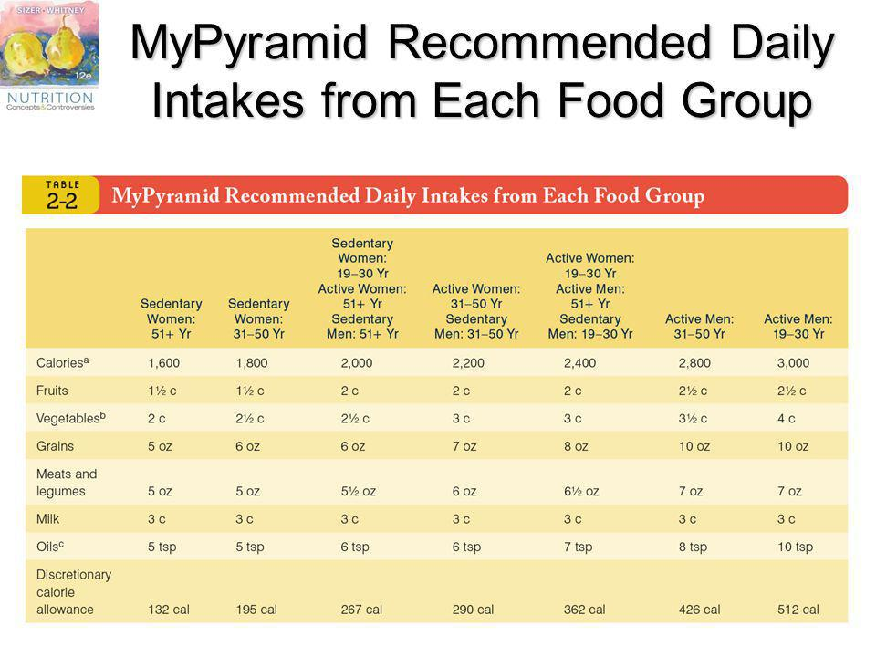 MyPyramid Recommended Daily Intakes from Each Food Group