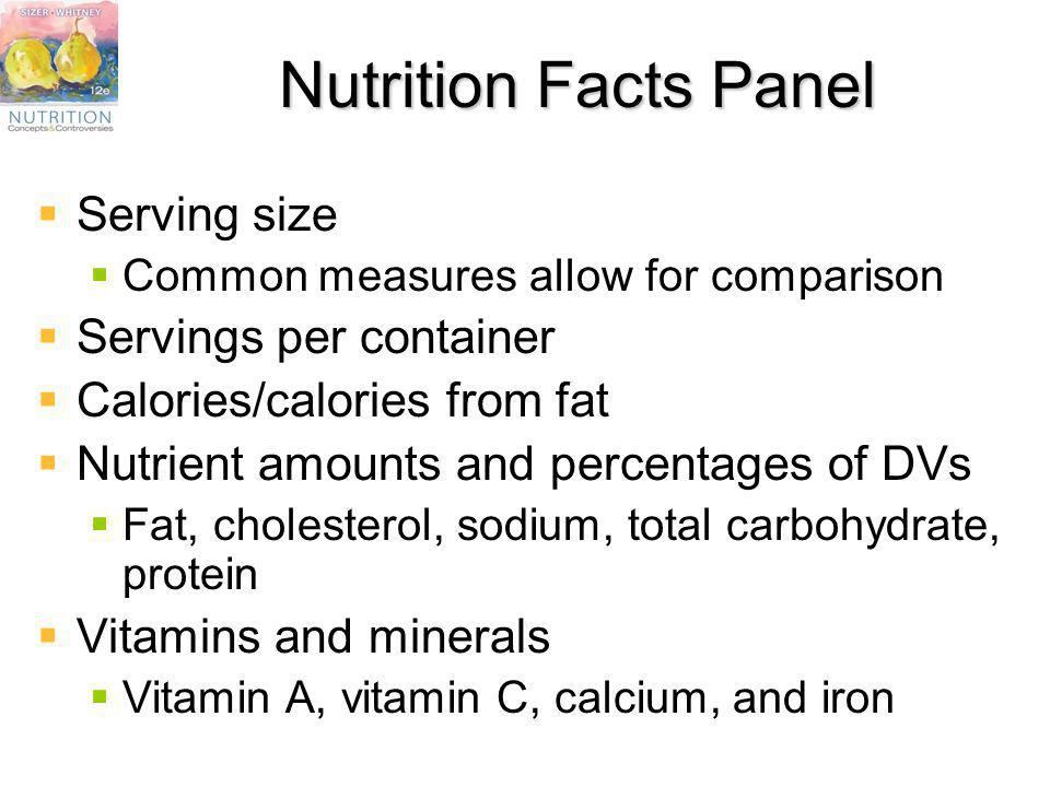 Nutrition Facts Panel Serving size Servings per container