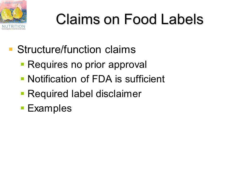 Claims on Food Labels Structure/function claims