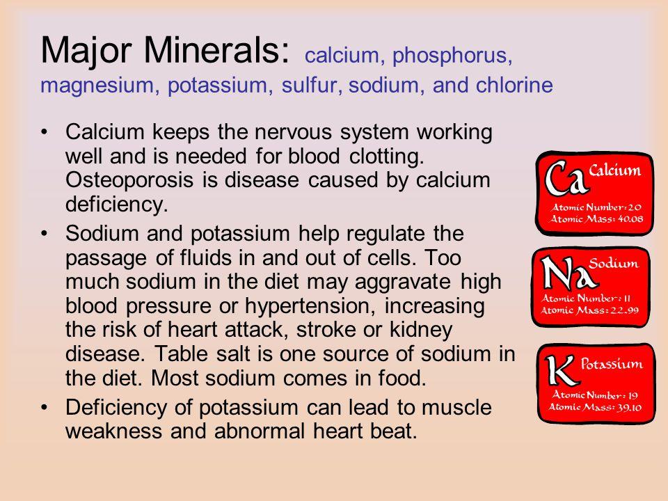 Major Minerals: calcium, phosphorus, magnesium, potassium, sulfur, sodium, and chlorine