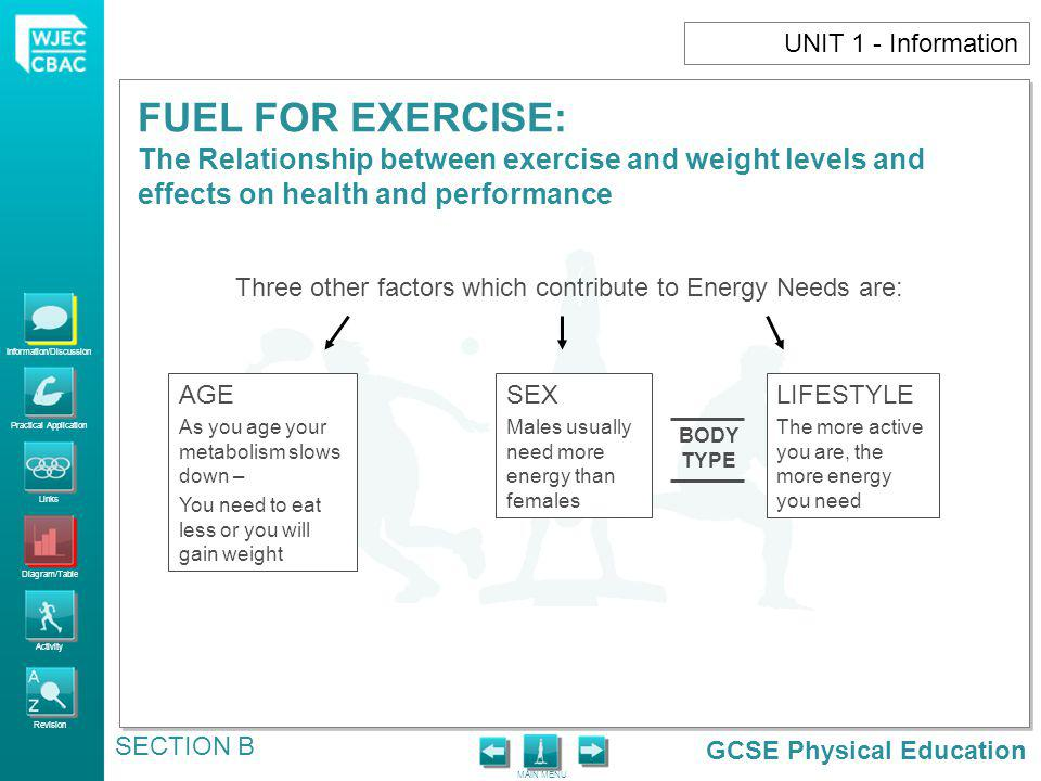 Three other factors which contribute to Energy Needs are: