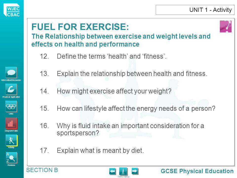 Define the terms 'health' and 'fitness'.