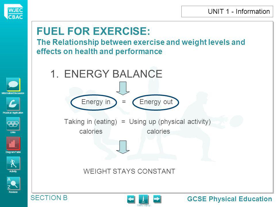 1. ENERGY BALANCE UNIT 1 - Information Energy in = Energy out