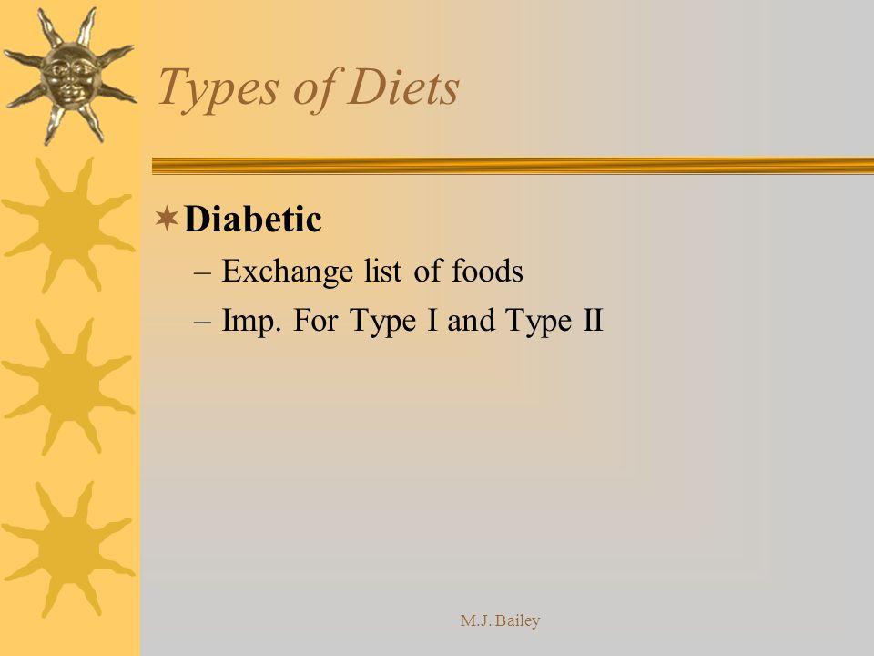 Types of Diets Diabetic Exchange list of foods