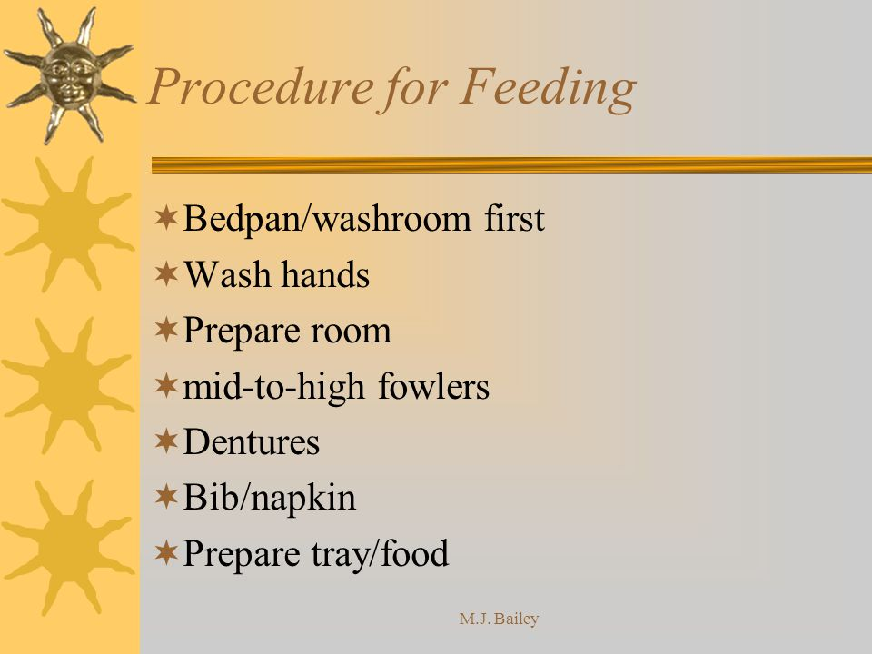 Procedure for Feeding Bedpan/washroom first Wash hands Prepare room