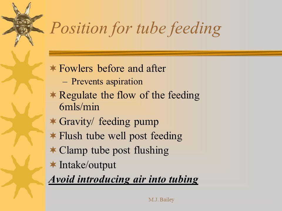 Position for tube feeding