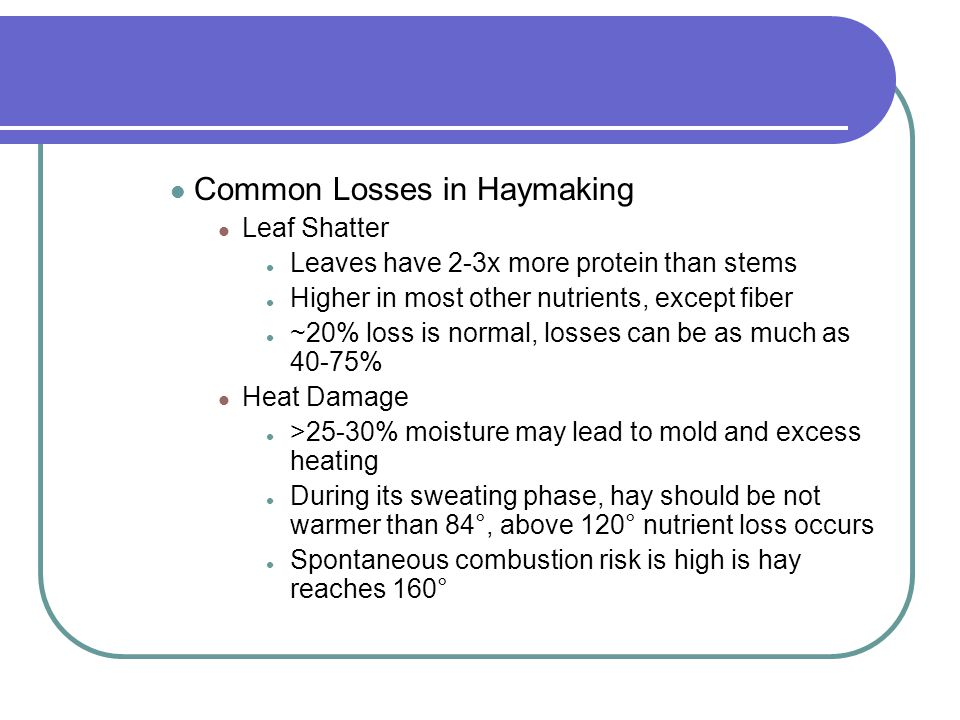 Common Losses in Haymaking
