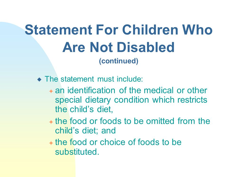 Statement For Children Who Are Not Disabled (continued)