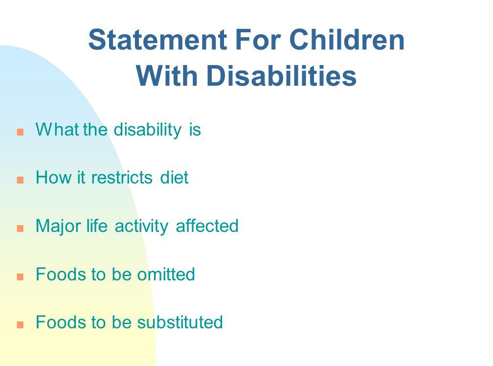 Statement For Children With Disabilities