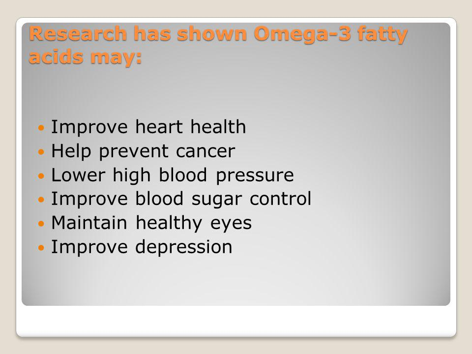 Research has shown Omega-3 fatty acids may: