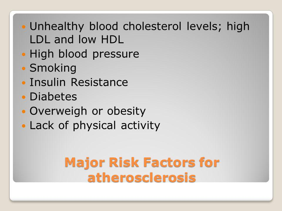 Major Risk Factors for atherosclerosis