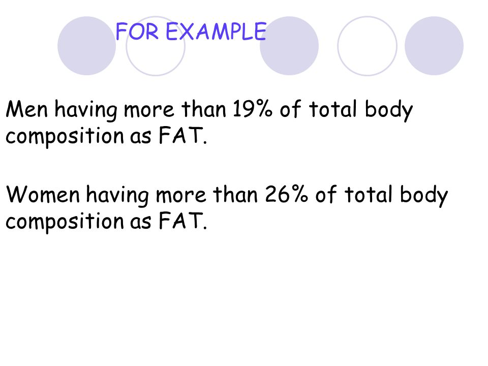 FOR EXAMPLE Men having more than 19% of total body composition as FAT.