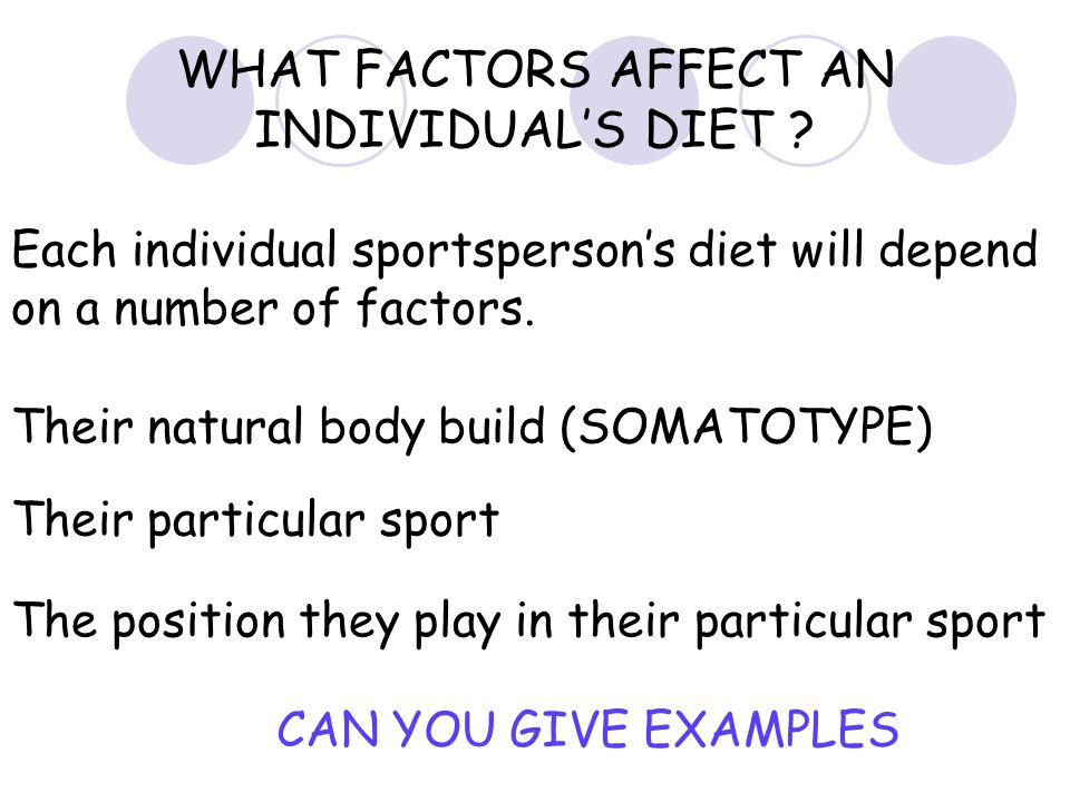 WHAT FACTORS AFFECT AN INDIVIDUAL'S DIET