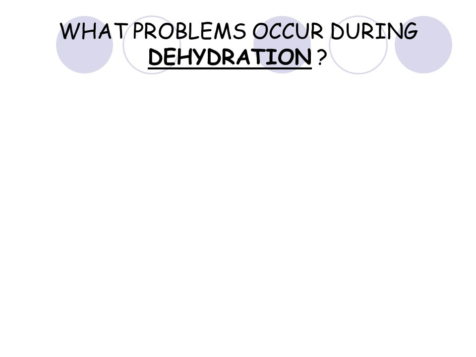 WHAT PROBLEMS OCCUR DURING DEHYDRATION