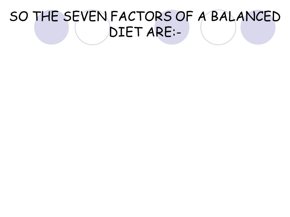 SO THE SEVEN FACTORS OF A BALANCED DIET ARE:-