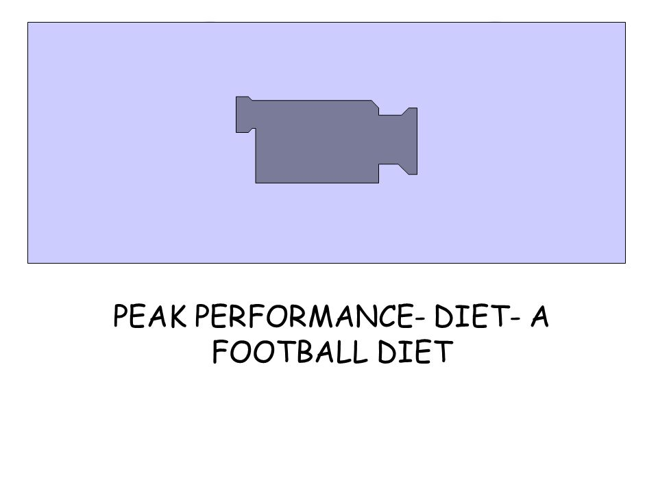 PEAK PERFORMANCE- DIET- A FOOTBALL DIET