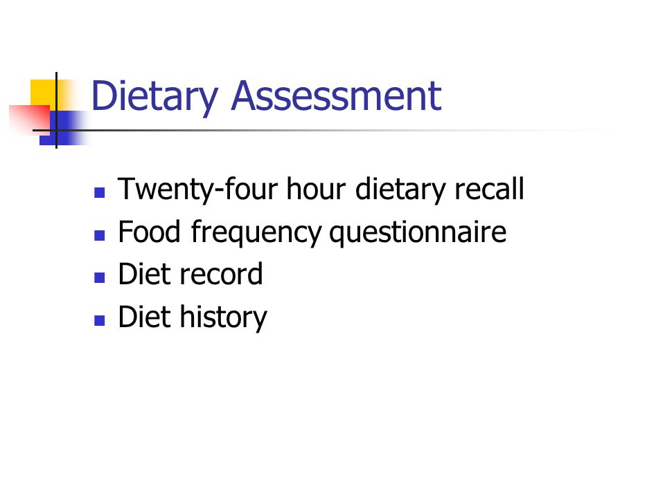 Dietary Assessment Twenty-four hour dietary recall