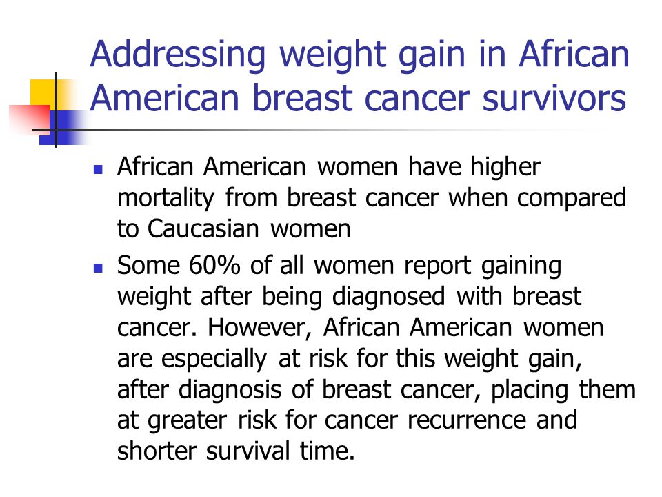 Addressing weight gain in African American breast cancer survivors