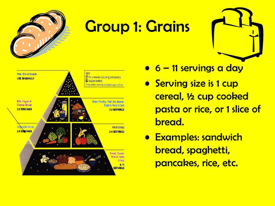 Group 1: Grains 6 – 11 servings a day
