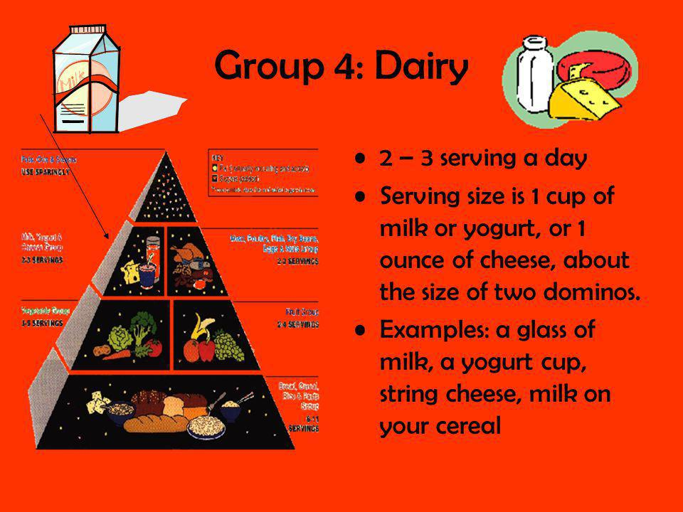 Group 4: Dairy 2 – 3 serving a day