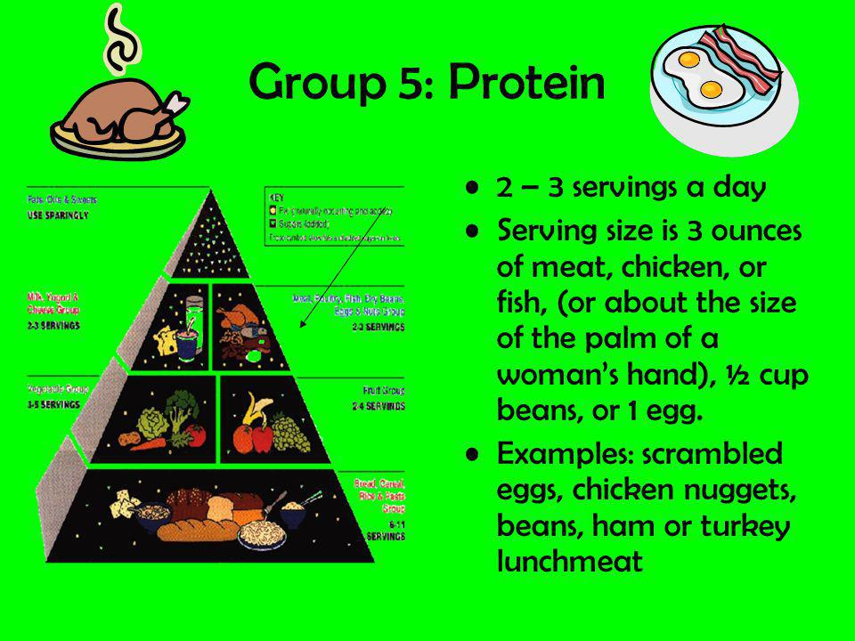 Group 5: Protein 2 – 3 servings a day