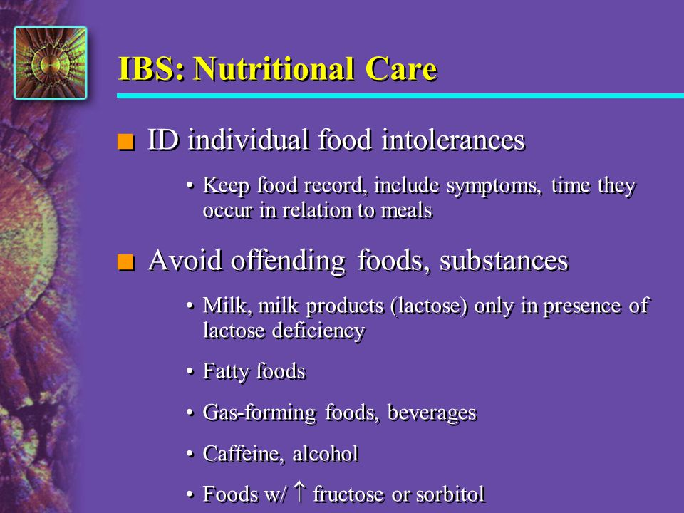 IBS: Nutritional Care ID individual food intolerances