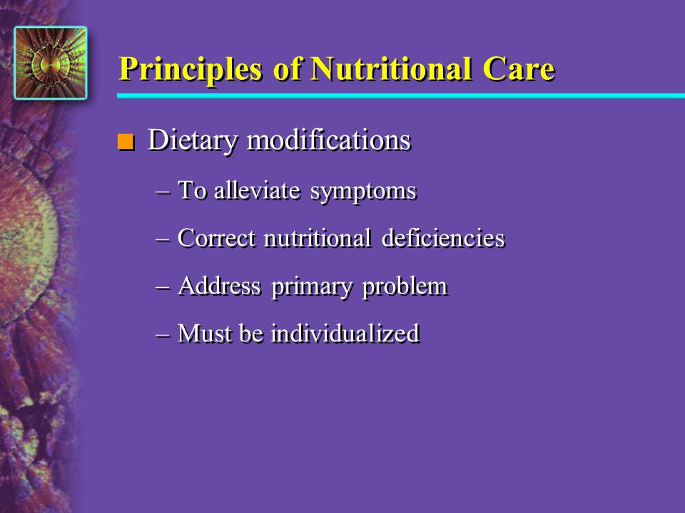Principles of Nutritional Care