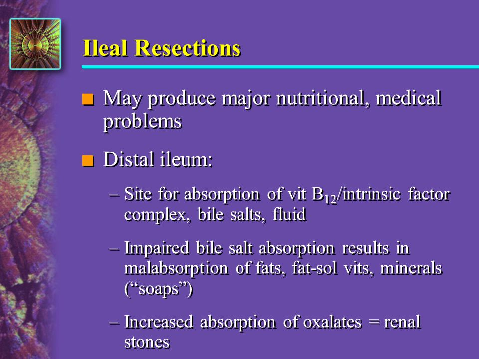 Ileal Resections May produce major nutritional, medical problems