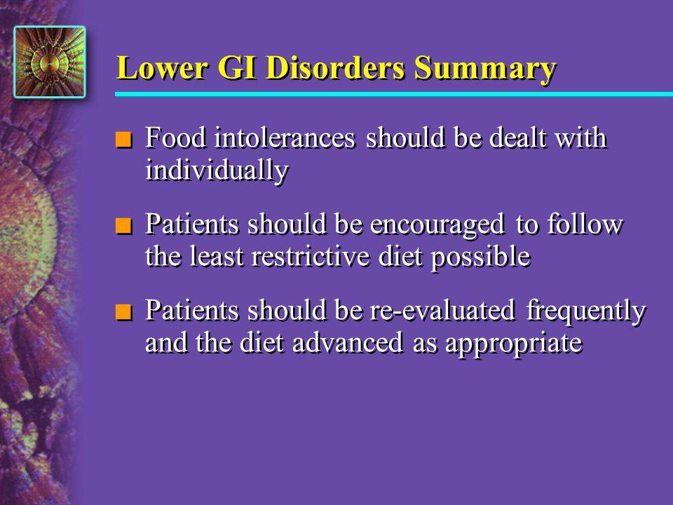 Lower GI Disorders Summary