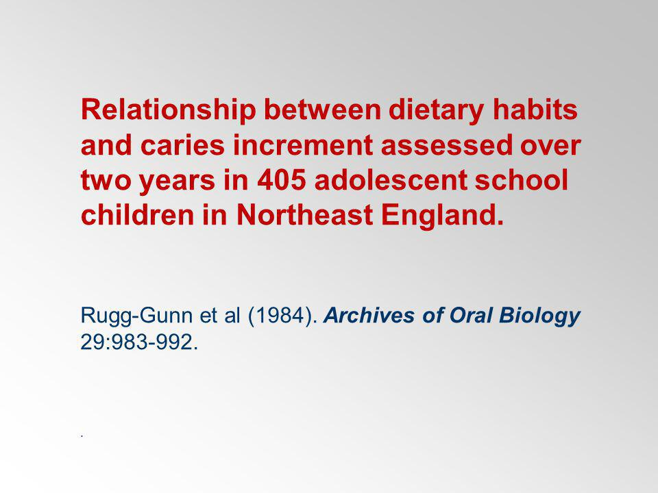 Relationship between dietary habits and caries increment assessed over two years in 405 adolescent school children in Northeast England.