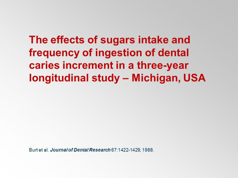 The effects of sugars intake and frequency of ingestion of dental caries increment in a three-year longitudinal study – Michigan, USA