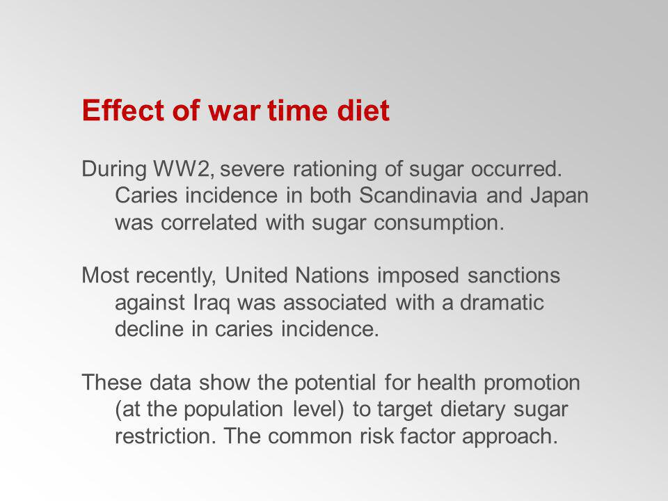 Effect of war time diet
