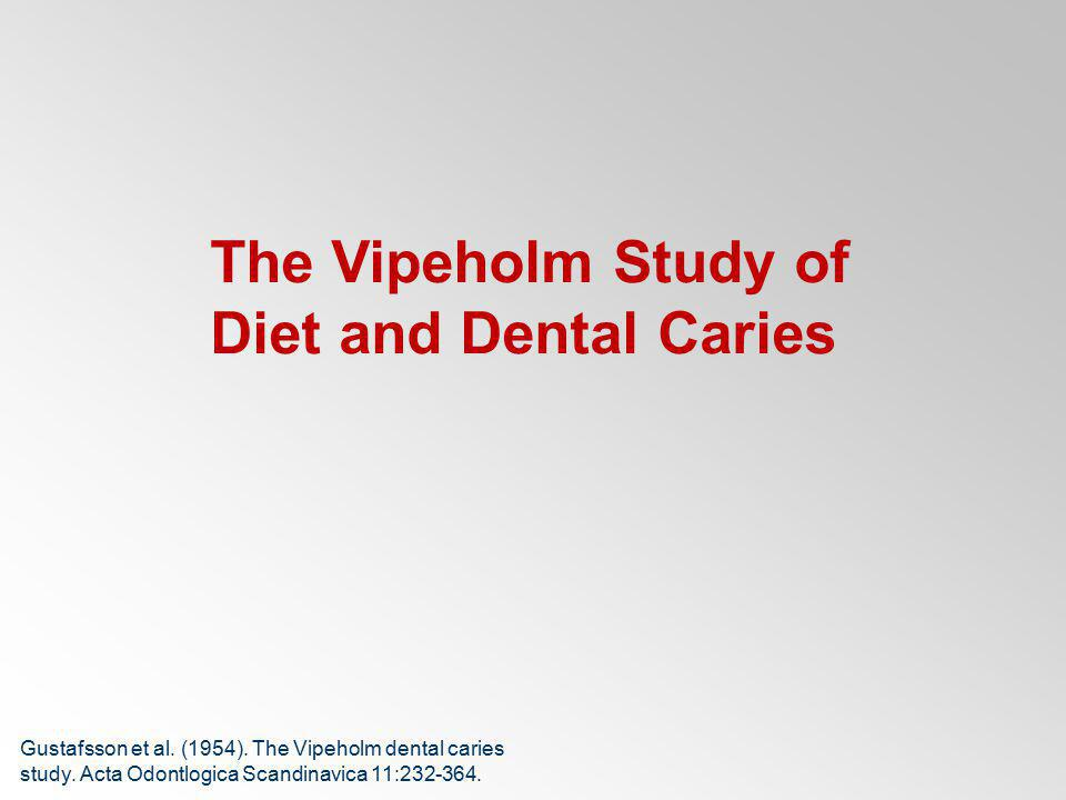 The Vipeholm Study of Diet and Dental Caries