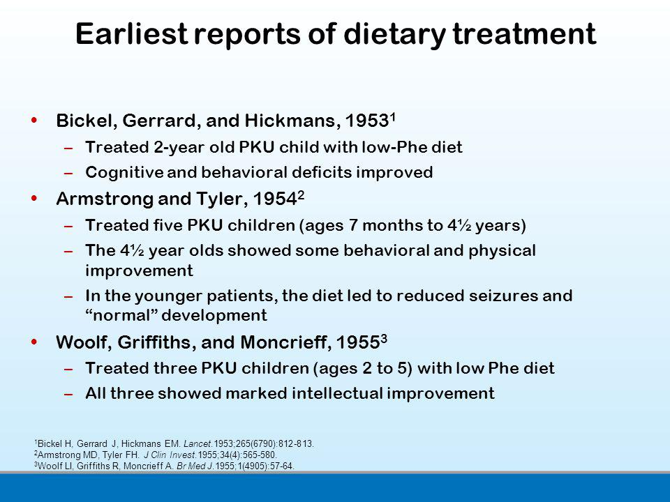 Earliest reports of dietary treatment