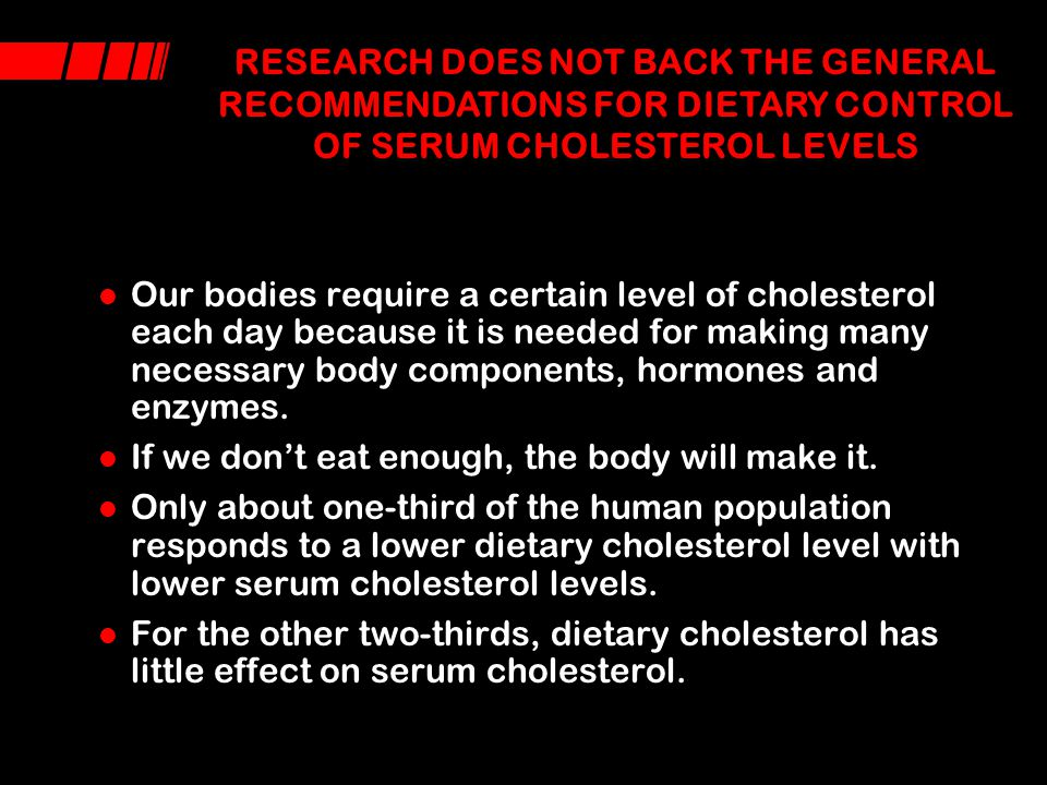 RESEARCH DOES NOT BACK THE GENERAL RECOMMENDATIONS FOR DIETARY CONTROL OF SERUM CHOLESTEROL LEVELS