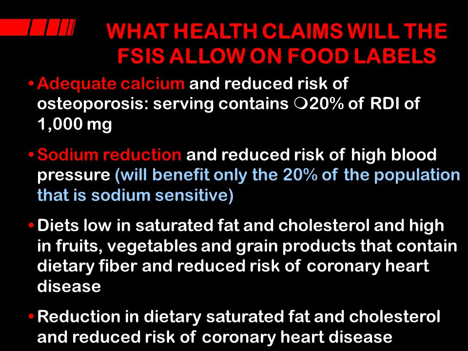 WHAT HEALTH CLAIMS WILL THE FSIS ALLOW ON FOOD LABELS