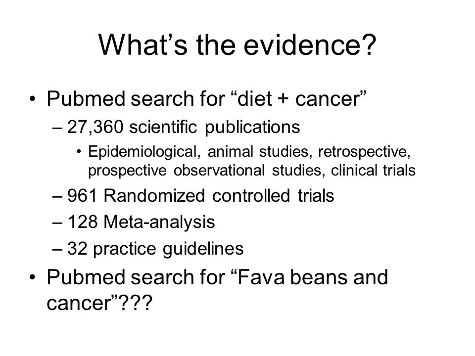 What's the evidence Pubmed search for diet + cancer