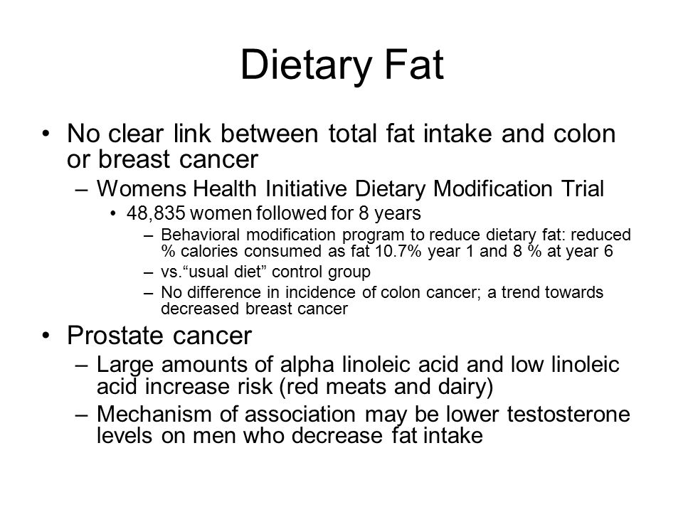 Dietary Fat No clear link between total fat intake and colon or breast cancer. Womens Health Initiative Dietary Modification Trial.