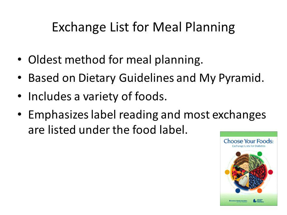 Exchange List for Meal Planning