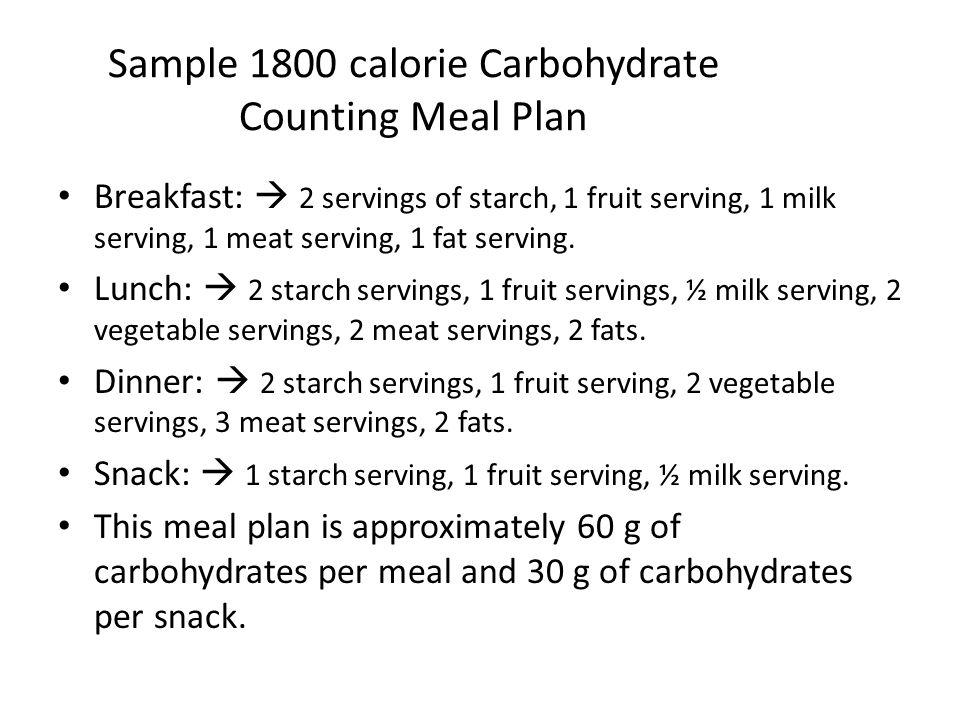 Sample 1800 calorie Carbohydrate Counting Meal Plan