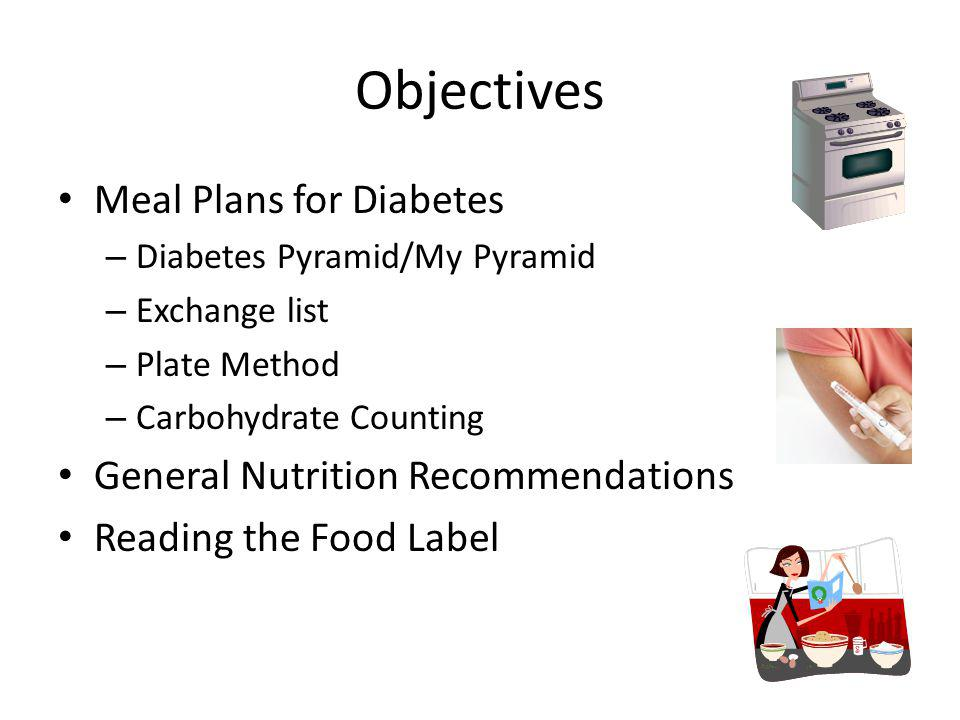 Objectives Meal Plans for Diabetes General Nutrition Recommendations
