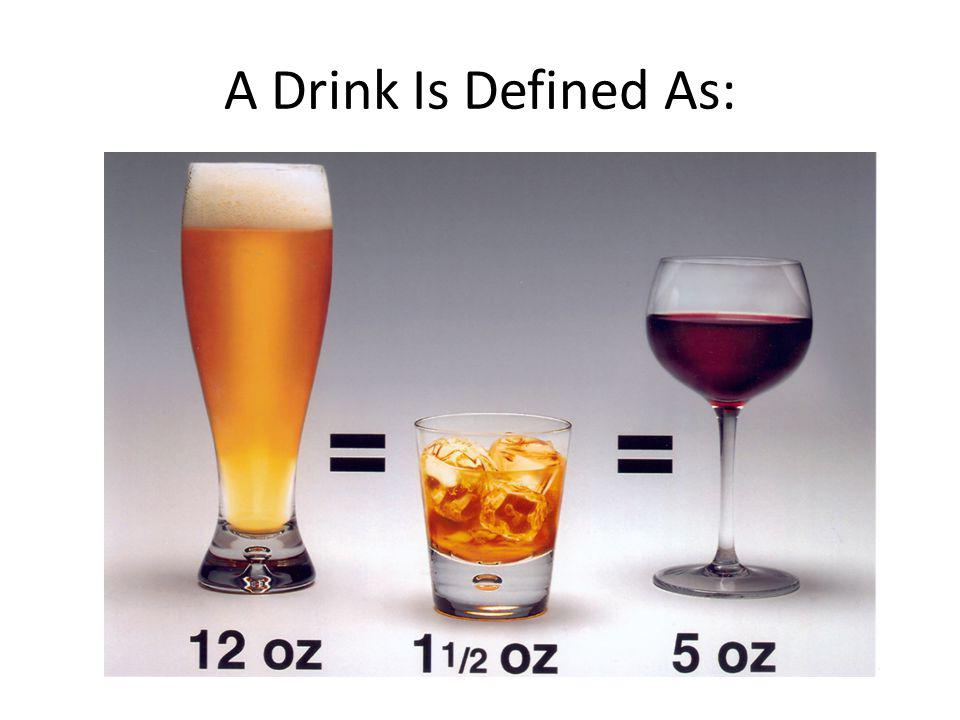A Drink Is Defined As: Drinks are defined as 1 per day for women and 2 per day for men. A drink is: