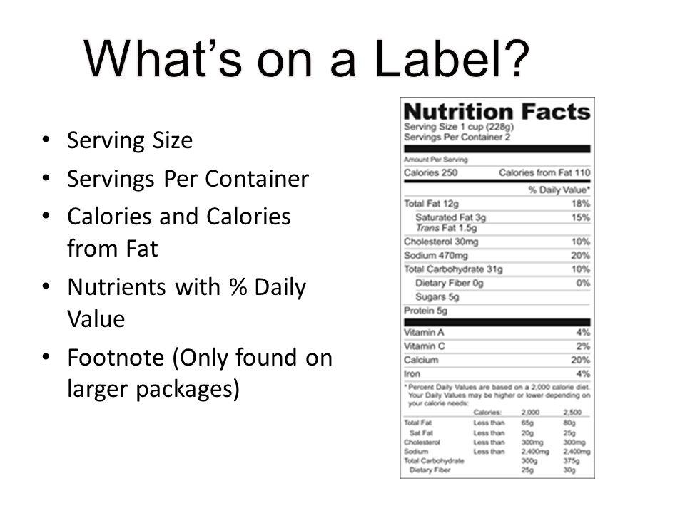 What's on a Label Serving Size Servings Per Container