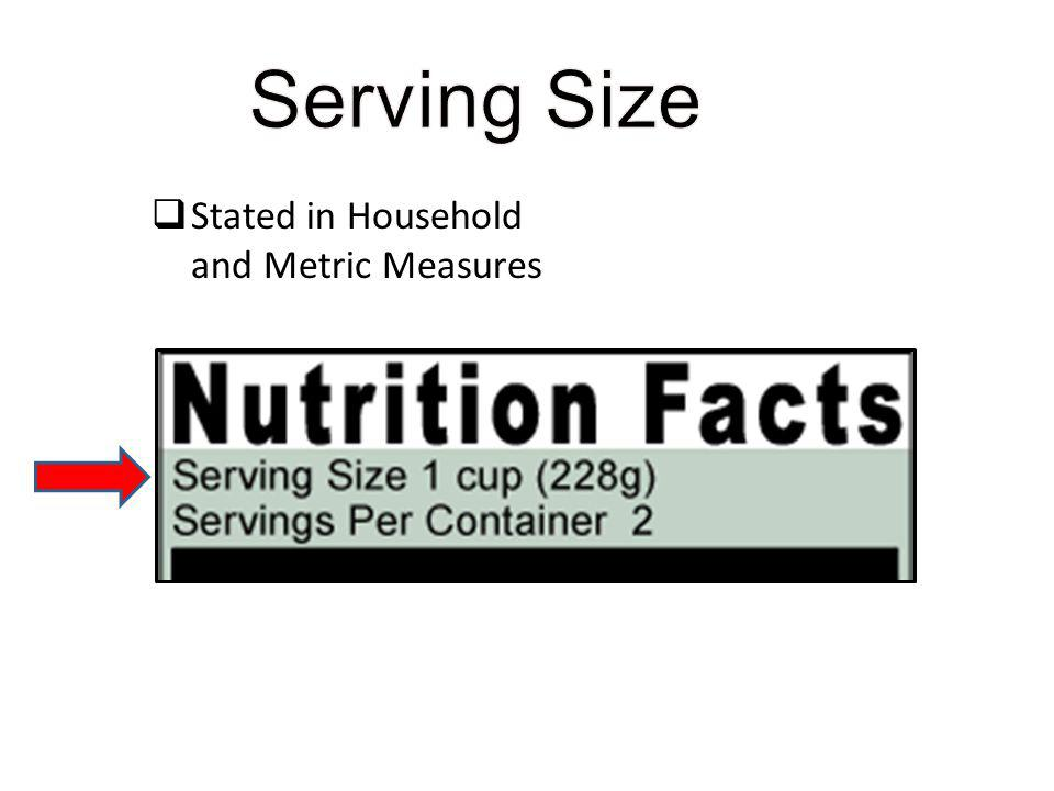 Serving Size Stated in Household and Metric Measures