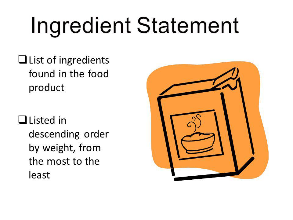Ingredient Statement List of ingredients found in the food product