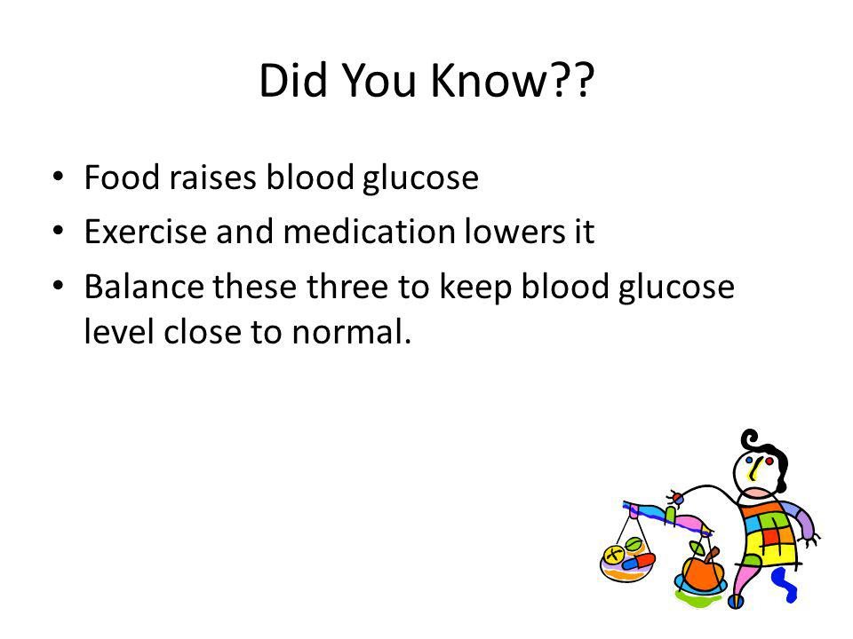 Did You Know Food raises blood glucose