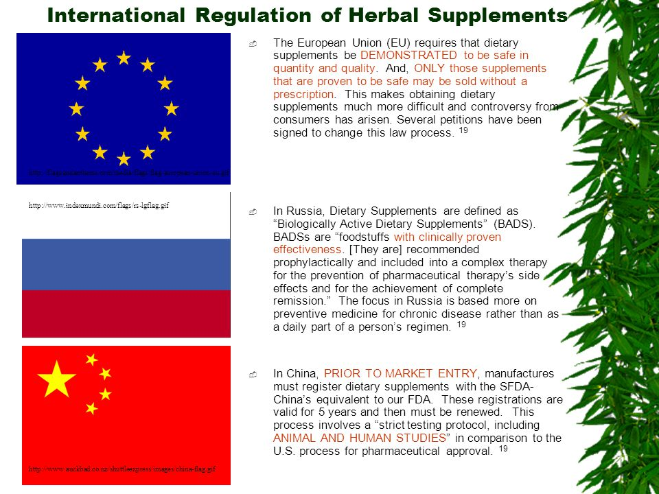 International Regulation of Herbal Supplements