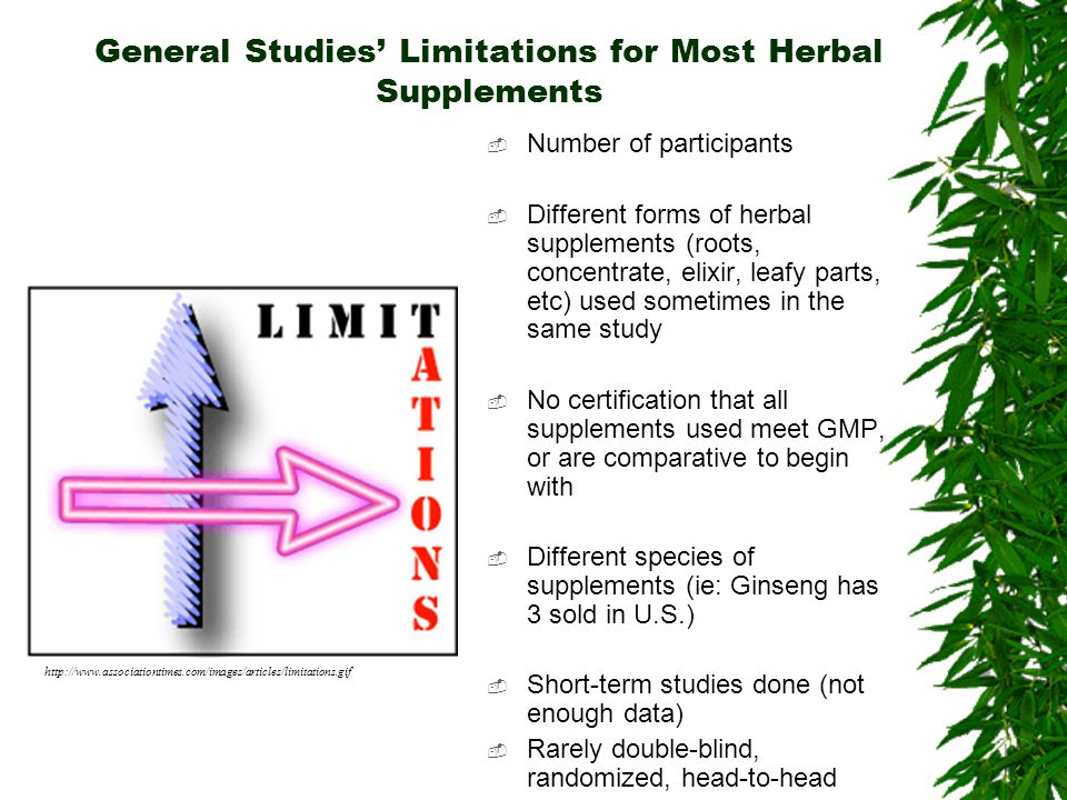 General Studies' Limitations for Most Herbal Supplements