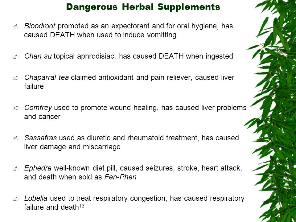 Dangerous Herbal Supplements