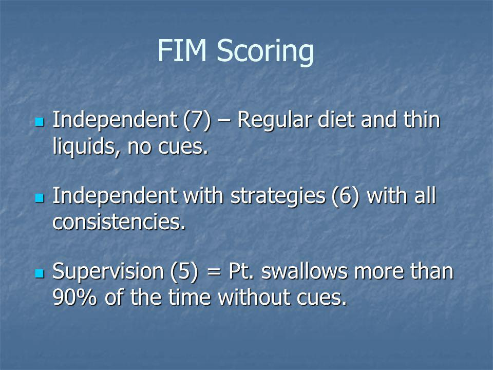 FIM Scoring Independent (7) – Regular diet and thin liquids, no cues.